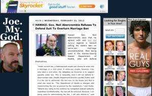 Gay Websites Extoll Gov's Marriage Ban Stance