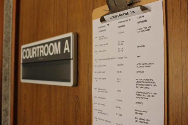 Hawaii Courtroom clipboard and 'courtroom' sign