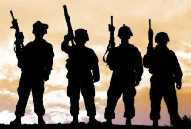 Army soldiers silhouettes