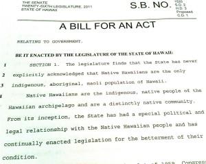 Hawaii Version of Akaka Bill Still Alive