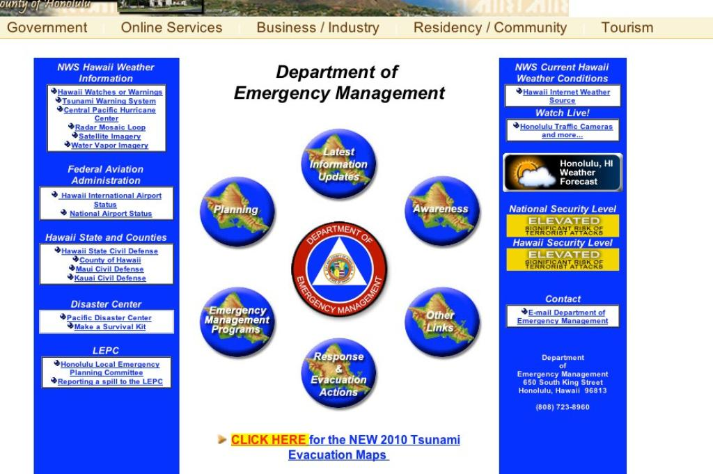 Hawaii State and County Websites Didn't Serve Public During Tsunami