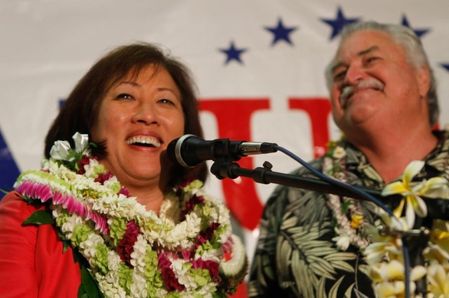 Hanabusa and husband John Souza on election night in 2010.