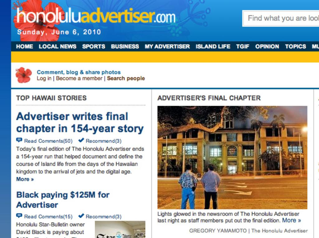 Reflections On The Death Of The Honolulu Advertiser