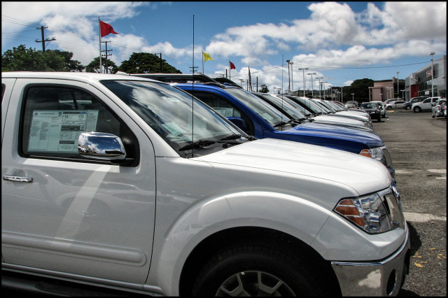 Car lot vehicles dealership Nissan