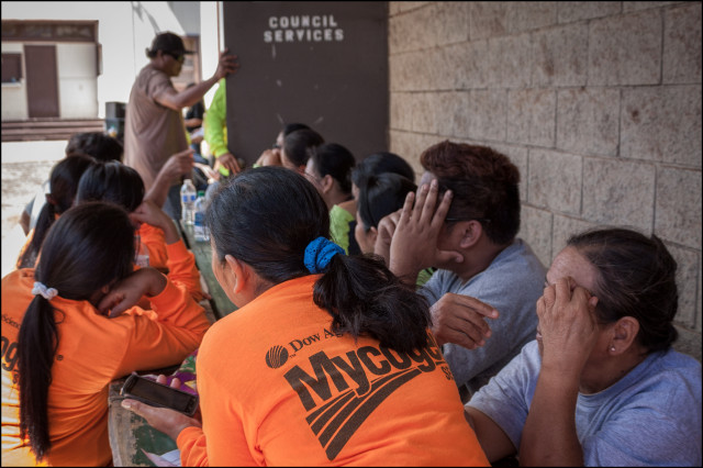 Molokai Mycogen workers wait to testify via telephone to maui Council on June 30, 2014.