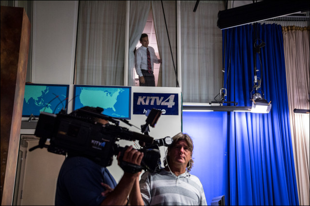 US Sen. Brian Schatz checks out KITV studio from holding room before coming down for televised debate against US Rep. Colleen Hanabusa on July 7, 2014.