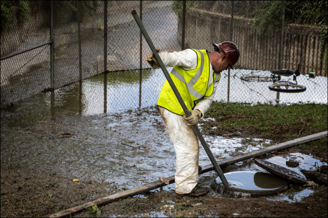 A city worker tries to unplug sewer blockage in Palolo, July 22, 2014.