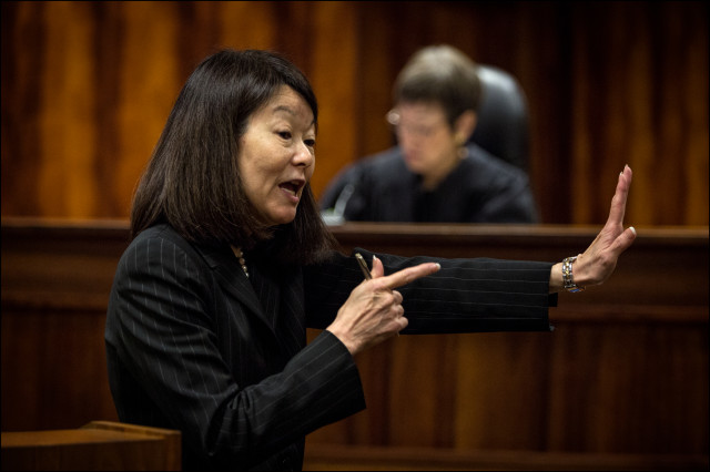 Prosecutor Janice Futa during her opening statement to the jury on the first day of the Christopher Deedy re-trial in Honolulu on July 10, 2014