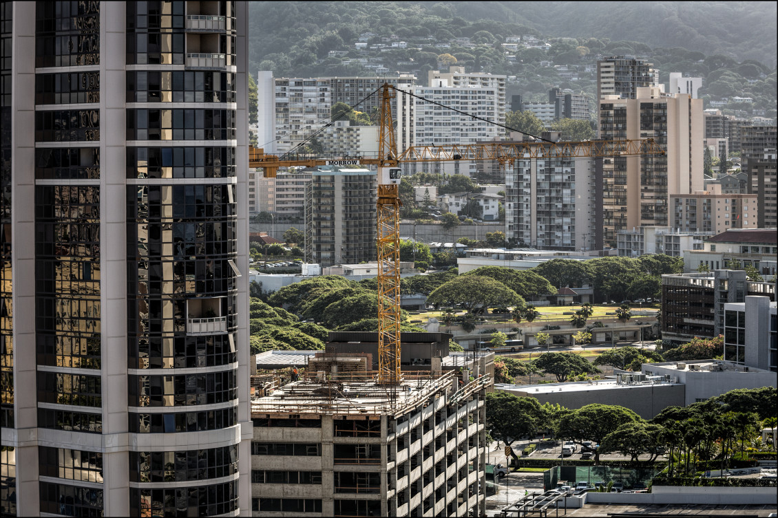 Building crane on new construction in Kakaako on July 21, 2014