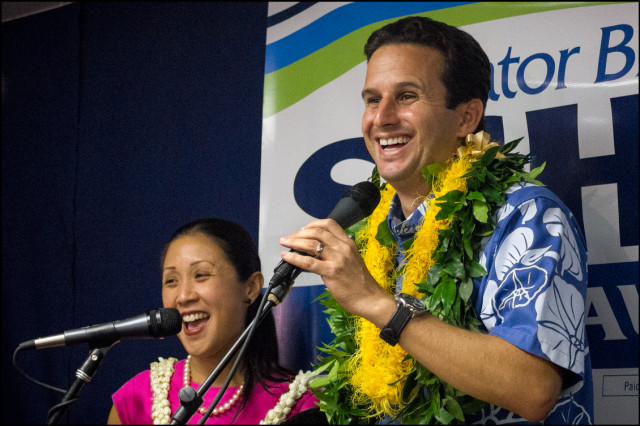 Sen. Brian Schatz and wife Linda Kwok greet crowd on primary night August 8, 2014