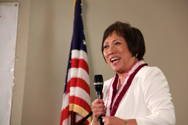 Colleen Hanabusa primary night 2014 speaking to supporters