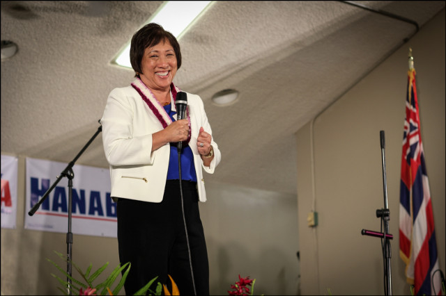 Rep. Colleen Hanabusa Greets crowd at her campaign headquarters on primary night.