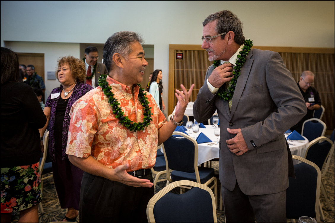 State Sen. David Ige, who crushed Gov. Neil Abercrombie in the Democratic Party primary, gets playful with the Libertarian candidate before the forum. Ige readily acknowledges he isn't the most exciting candidate, but the dominance of his party in the state may give him a head start with many voters.