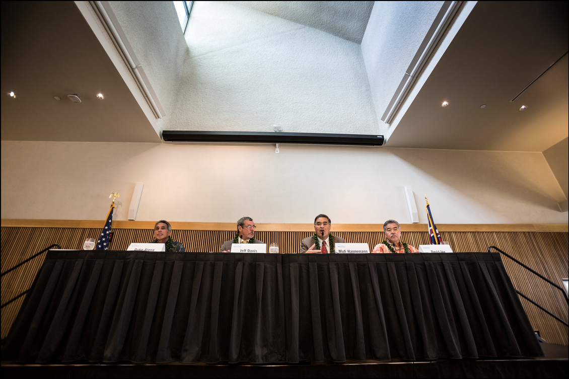 In the first formal gathering of all four candidates, Aiona, Davis, Hannemann and Ige offered their views on Hawaii and how it should be lead. In a field without an incumbent and with three candidates who could easily end up in double figures, the Nov. 4 vote is surprisingly open.