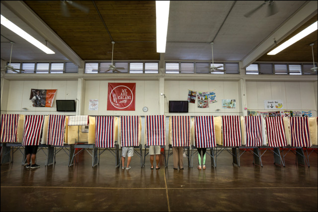 Voting booths scene at Kalani High School on Primary Day August 9, 2014