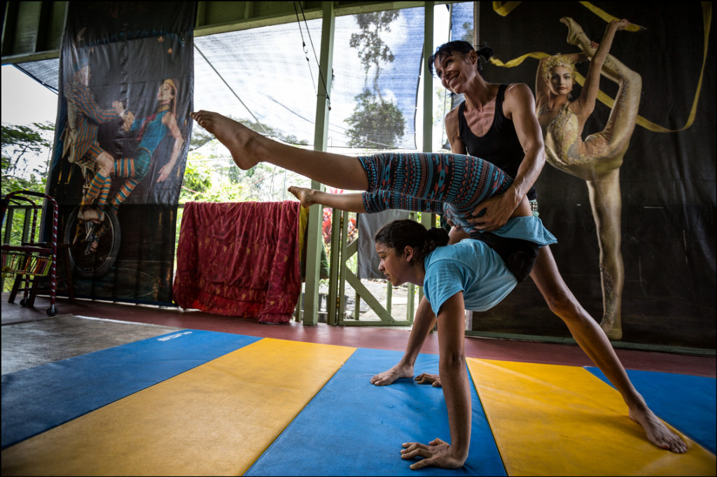 Annetta Lucero coaching Kumsa Maphalala with her contortionist act on August 12, 2014.