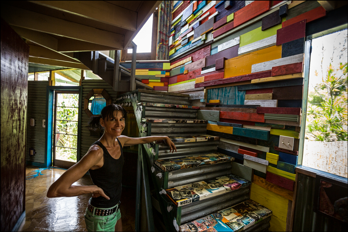 Annetta Lucero and her family spent more than a week without power in their home in Puna following Tropical Storm Iselle. The house, built from recycled materials, escaped largely unscathed, although the area around it suffered extensive damage to infrastructure that prevented some people from voting.