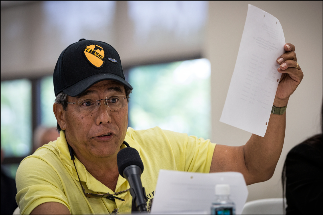Cummins Kameeiamoku Mahoe III spoke about the difficulties that veterans from other islands have getting to Oahu for treatment, as well as securing appointments and obtaining travel reimbursements.