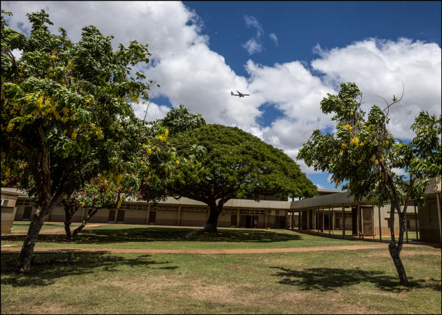 Aircraft landing approach to Honolulu International Airport is directly overhead at Ilima Intermediate School in Ewa Beach. September 12, 2014