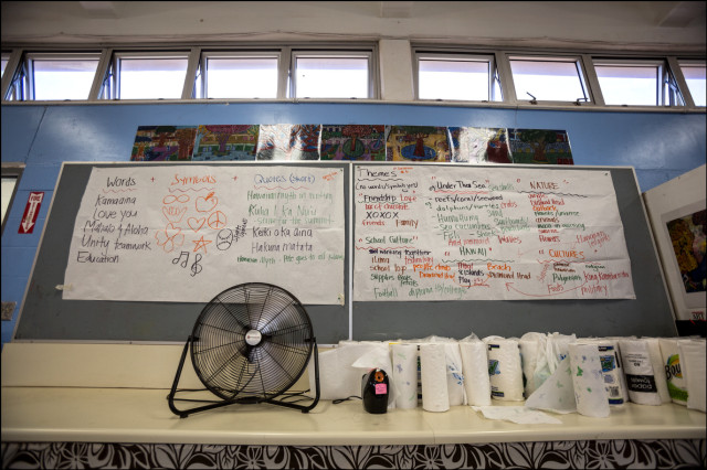 Fan tailing hot air in classroom Ilima Intermediate School in Ewa Beach. The temperature was measured at 94.1F with fans going and no student inside on September 12, 2014