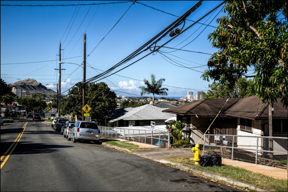 Speaker Emeritus Calvin Say's Palolo house on right with Diamond Head in background 10th Ave. on September 17, 2014