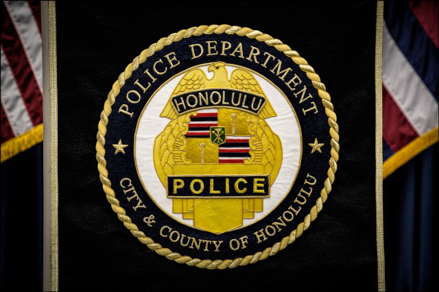 HPD emblem on podium before Police Chief Kealoha's news conference on September 18, 2014