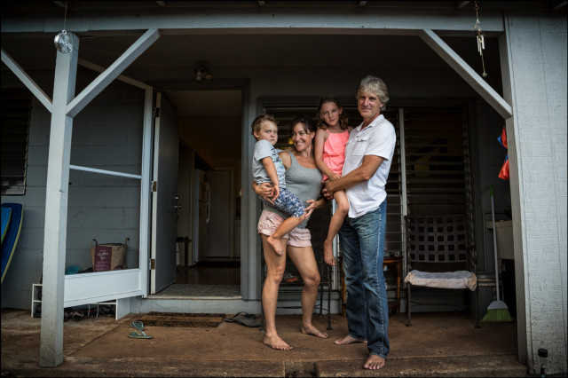 Nora Yolles-Young and her husband Scott Young with their two kids, Sam and Makena in Honolulu on September 18, 2014
