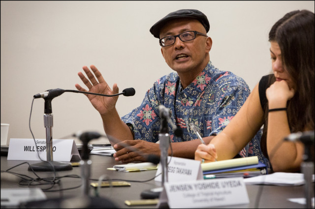 Senator Will Espero during a Hawaii Medical Marijuana Dispensary Task Force meeting at the Hawaii State Capitol on September 9, 2014.