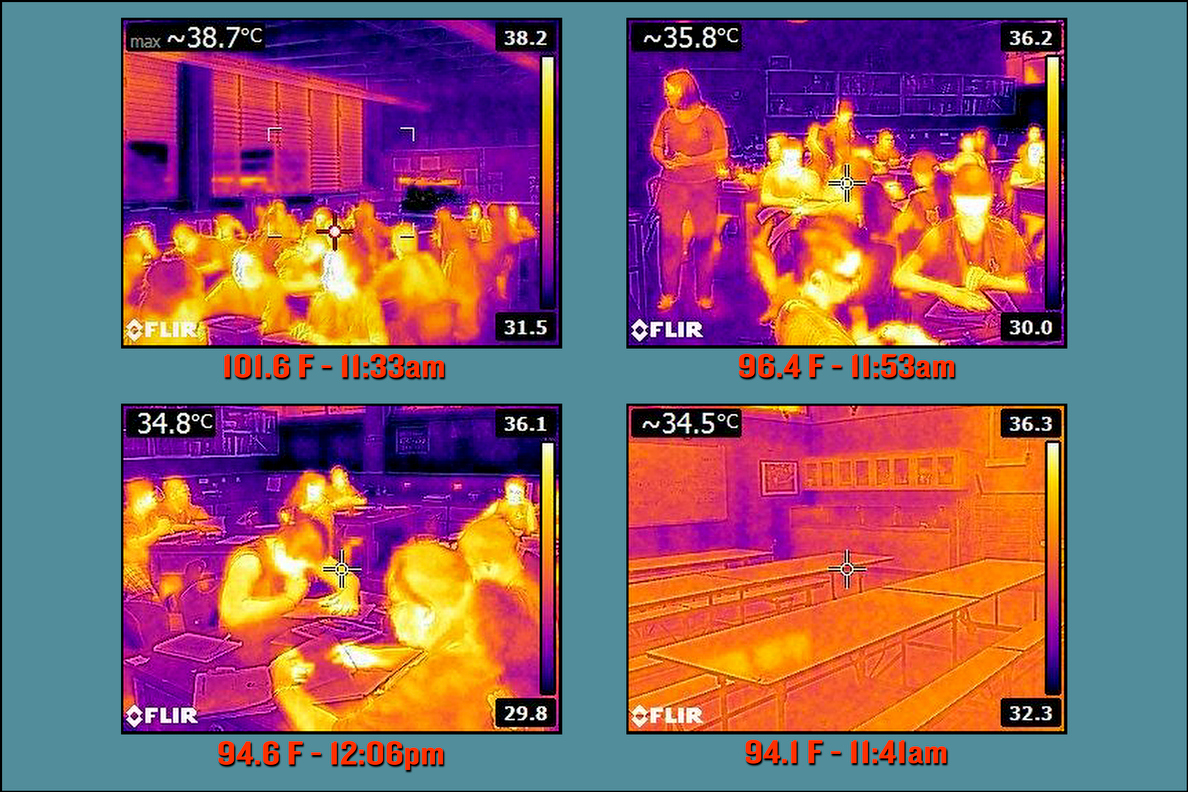 Thermal images taken in classrooms at Ilima Intermedate in Ewa Beach on September 12, 2014.