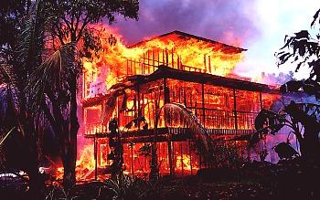 Lava house burning Kalapana Big Island