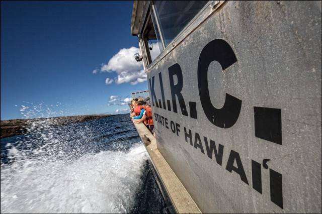 The KIRC vessel Ohua approaches Kahoolawe island. 9.26.14