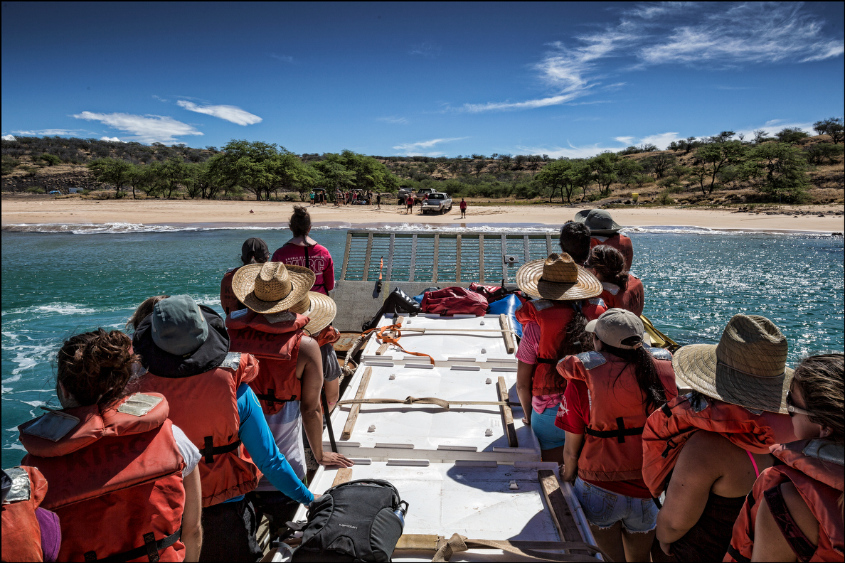 Students from the UH William S. Richardson School of Law chant Oli Kahea asking permission to land on Kahoolawe. 9.26.14