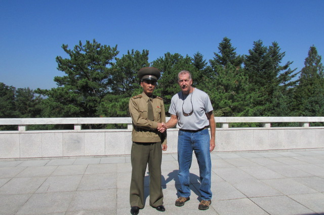 North Korea Peter Carlisle with soldier