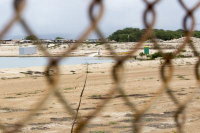 Haseko lagoon through fence