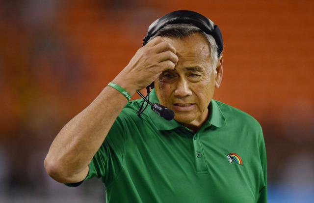 UH Football coach Norman Chow reacts to action in first half of game versus UNLV. ALOHA STADIUM, HONOLULU, HAWAII. photo CORY LUM/ CIVIL BEAT