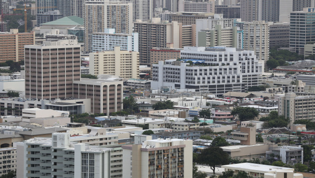 View of buildings in metro Honolulu. 24 nov 2014. photograph Cory Lum