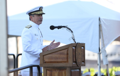 Admiral Harry Harris, Commander, U.S. Pacific Fleet speaks during the 73rd Anniversary Pearl Harbor Day Commemoration. 7 dec 2014.photograph Cory Lum