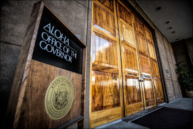 Entrance doors to Governor's Office at the Hawaii Capitol Building 1.9.14
