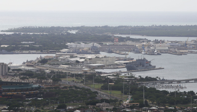 Pearl Harbor view from Aiea Heights. 15 dec 2014. photograph Cory Lum