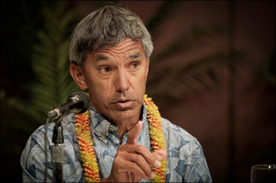 Nainoa Thompson, President, Polynesian Voyaging Society at the Ascent Building a Secure and Sustainable Water and Energy Future for Hawaii Conference at UH Manoa. 4.15.14