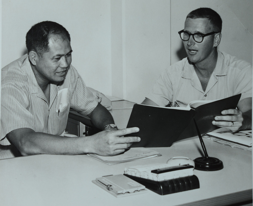 Sam Keala, Civil Engineer and Bill Balfour from the 1960s. photograph Bill Balfour.
