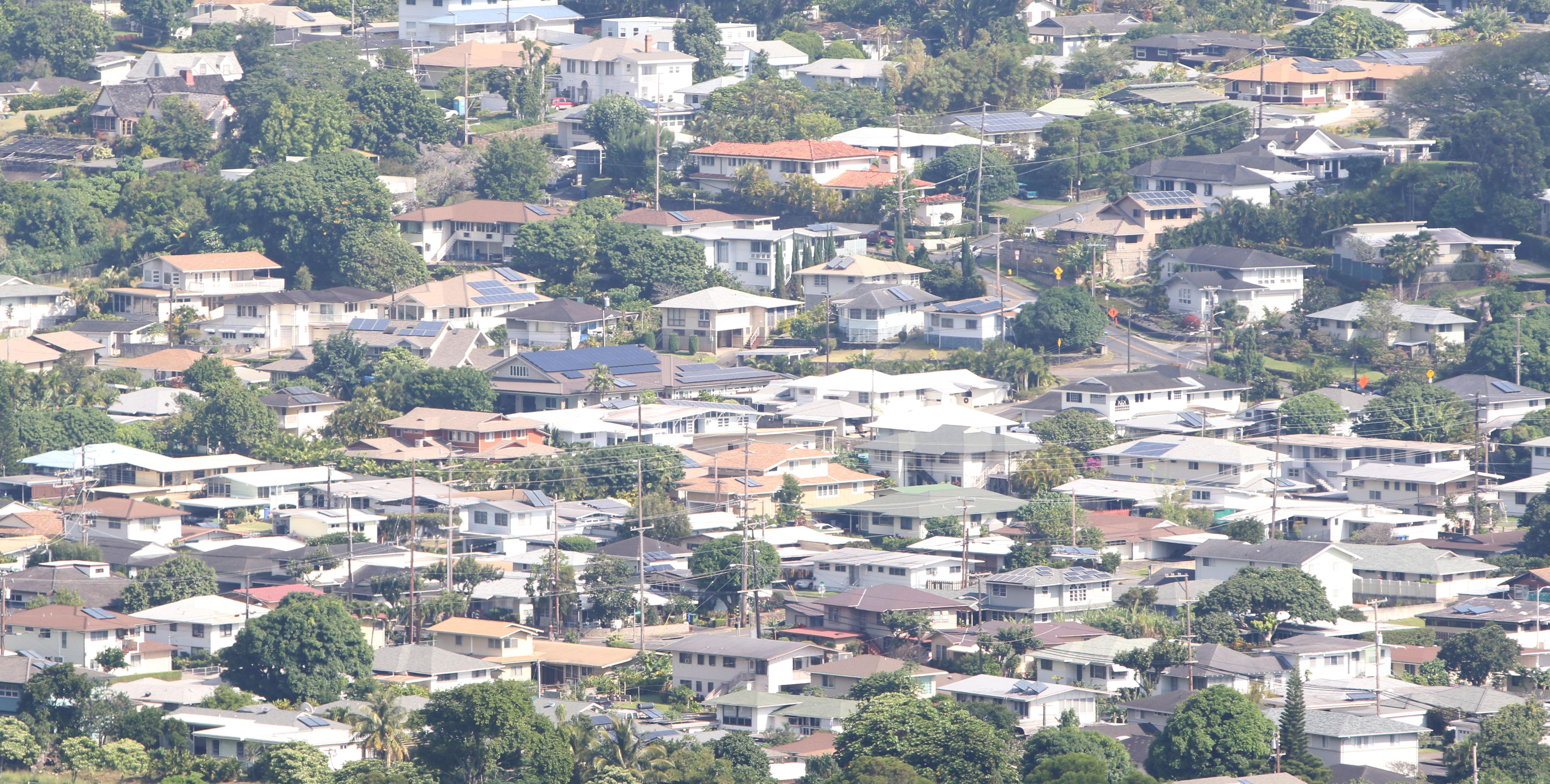 View of upper Manoa homes. 9 dec 2014. photograph Cory Lum