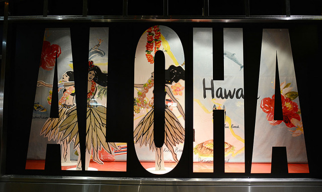 DFS Galleria Waikiki life-sized hula dancer cutouts in a display along Royal Hawaiian Avenue. 9 jan 2015. photograph Cory Lum/Civil Beat