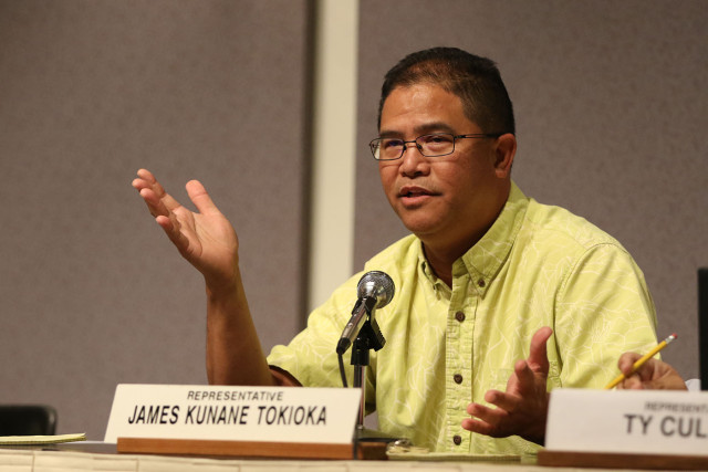Representative James Kunane Tokioka questions Mayor Caldwell on funding for rail. 26 jan 2015. photograph Cory Lum/Civil Beat