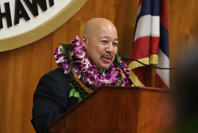 Honolulu City Council Chair Ernie Martin speaks during city council inauguration ceremonies held at Honolulu Hale. 2 jan 2015. photograph Cory Lum/Civil Beat