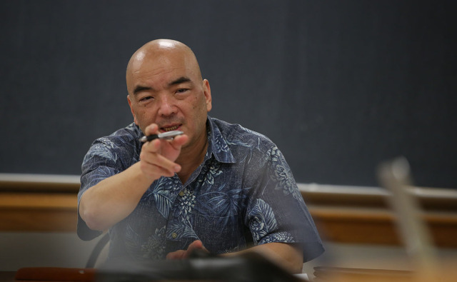Hawaii Council on Revenues Chair Kurt Kawafuchi at Hawaii Council on Revenues Meeting to Forecast general fund revenues held at DLIR conference rooms, Princess Ruth Keelikolani Building, 830 Punchbowl Street, 3rd floor. 6 jan 2015. photograph Cory Lum