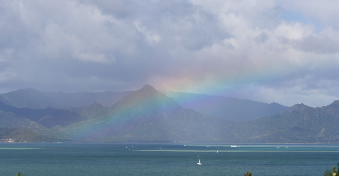 First outing of the day from Kailuana Place to Bellows AFB beach we saw a rainbow from the travel pool bus over Kaneohe Bay. 3 jan 2015. photograph Cory Lum/Civil Beat