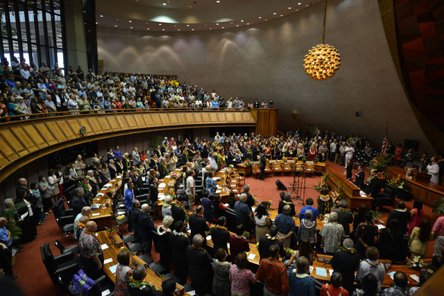 Opening day of the legislature on the House of Representatives side. 21 jan 2015. photograph Cory Lum/Civil Beat