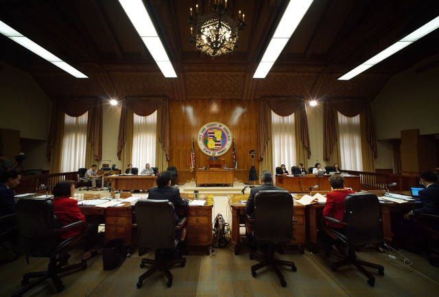 Honolulu City Council members sit as chair addresses some bills. 18 feb 2015. photograph Cory Lum/Civil Beat