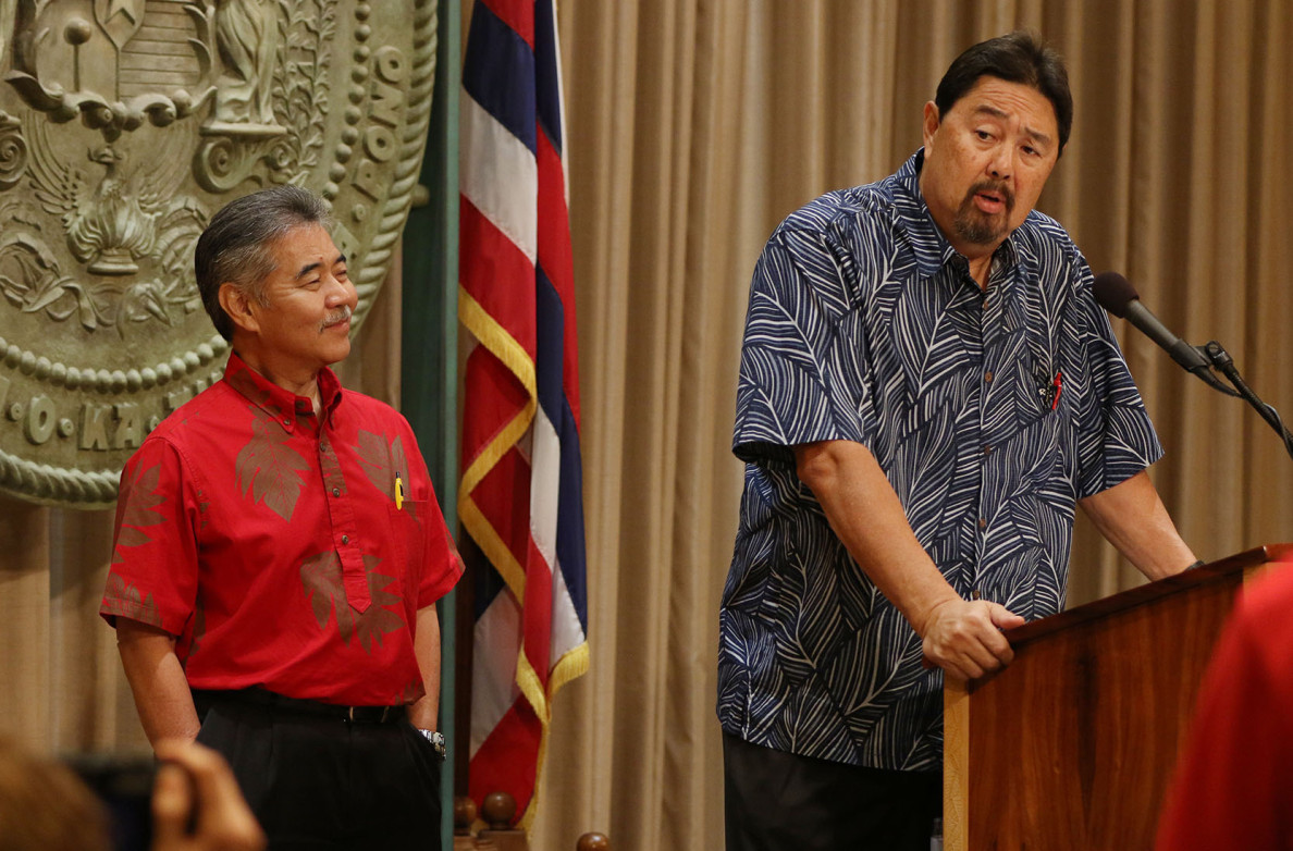DLNR nominee Carleton Ching speaks to media with Governor David Ige.  18 march 2015. photograph Cory Lum/ Civil Beat